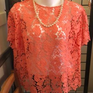 Coral pink crochet blouse 2-3XL